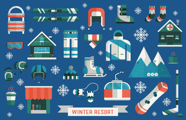 Winter Resort Sports Gear Icon Set