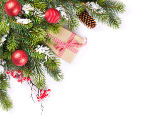 Christmas tree branch and gift