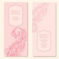 Wedding cards template with butterfly and flower decoration