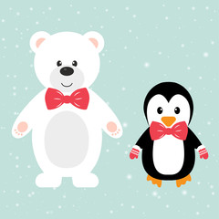 winter bear with penguin