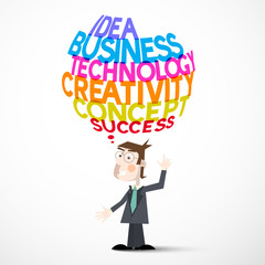 Businessman and Idea Business Technology Creativity Concept Success Titles