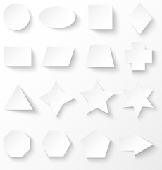 Set of white basic geometric shapes with shadow