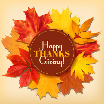 Thanksgiving Day greeting card with autumn leaves. Vector illustration.