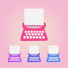 typewriter icons set