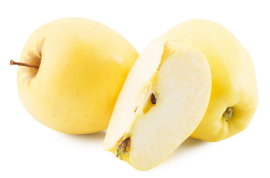 yellow apple isolated on the white background