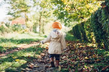 Little girl walking in nature
