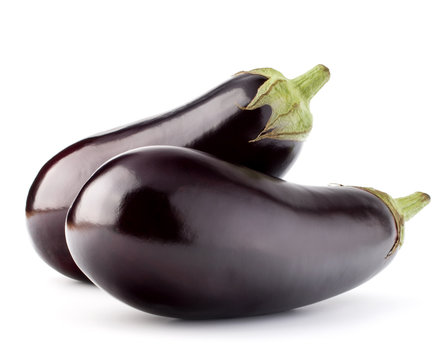 Eggplant or aubergine vegetable isolated on white background cut