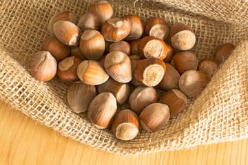 Hazelnuts in a jute sack