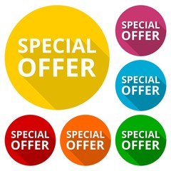 Special offer icons set with long shadow