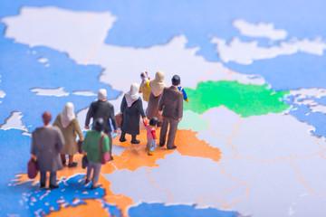 Flüchtlinge auf der Balkanroute auf dem Weg nach Europa