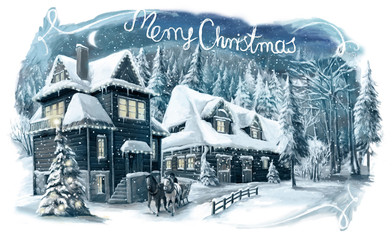 Christmas winter happy scene with wooden house in the mountains - forest - illustration for the children