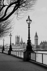Fototapeta RETRO VINTAGE PHOTO FILTER EFFECT: Lamp on South Bank of River Thames with Big Ben and Palace of Westminster in Background, London, England, UK