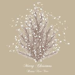 Abete Stilizzato con Neve - Merry Christmas