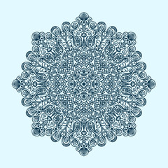 radial pattern of curls and spirals large and complex blue tint