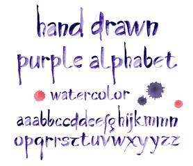 Watercolor hand written purple alphabet. Vector watercolor.