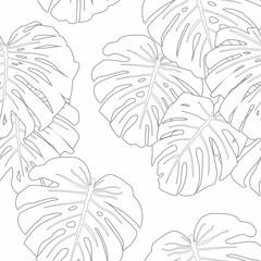 Mostera Leaves Seamless Pattern