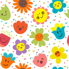 Seamless pattern with funny flowers. Cute cartoon background