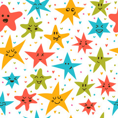 Seamless pattern with funny little stars. Stylish background wit