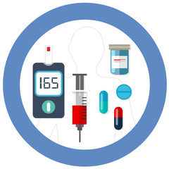 world diabetes day blue circle symbol with icon vector blood glucose test insulin drug pharmacy health care