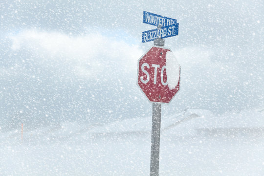 Winter Blizzard Stop Sign