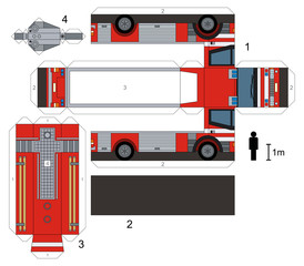 Paper model of a firetruck, not a real type, vector illustration
