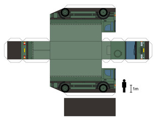 Paper model of a military truck, not a real type, vector illustration