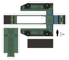 Paper model of a military tank truck, not a real type, vector illustration