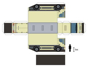 Paper model of a truck, not a real type, vector illustration