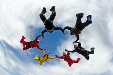 Skydiving team work group