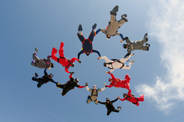 Skydiving team work formation