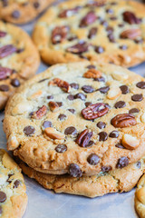 Oatmeal cookies with chocolate chips and nuts