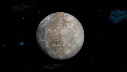 Planet Mercury on stars background
