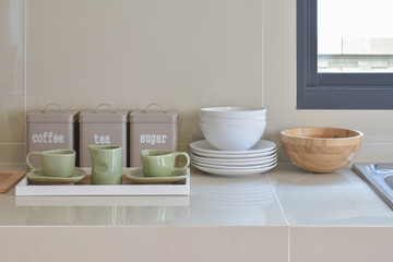 modern pantry with white utensil in kitchen