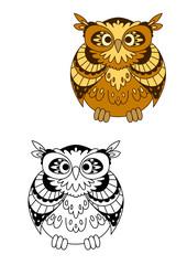 Retro stylized brown owl bird mascot