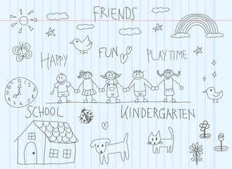 children doodle drawing of friend and kid imagination of animal house flower rainbow in cartoon style in school notebook paper background with handwriting (vector)