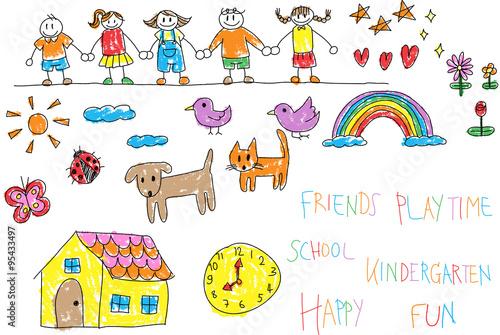 Vector Drawing Lines Kindergarten : Quot kindergarten children doodle crayon drawing of a friend