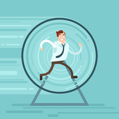 Businessman runs. Vector flat illustration