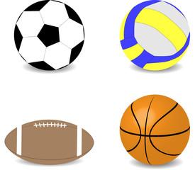 Balls rugby football basketball soccer volleyball