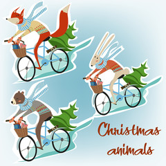 christmas animals on bicycles