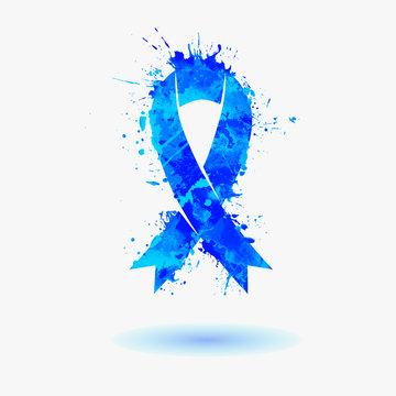 blue ribbon - prostate cancer awareness symbol. Splash paint