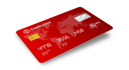 Credit Card 3D view isolated on White background