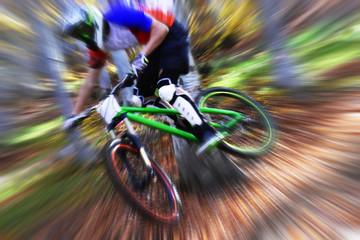 Biking as extreme and fun sport. Downhill biking.