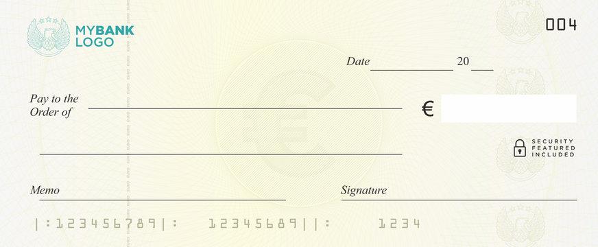 Euro Bank Cheque Vector