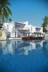 Luxury modern white house overlooking a tropical landscaped garden with palm trees and curving blue swimming pool. 3D rendering.