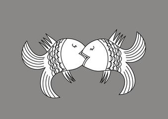 Vector . Kissing fish