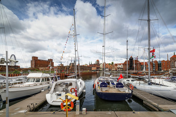 Luxury yachts in the bay area of Gdansk, Baltic coast, EU