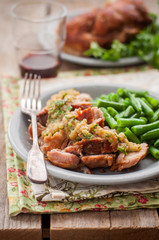 Slow Cooked Pork with Apple Sauce and Green Beans