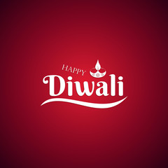 Beautiful lettering calligraphic white text. Calligraphy inscription Happy Diwali festival India on a red background. Vector illustration EPS 10