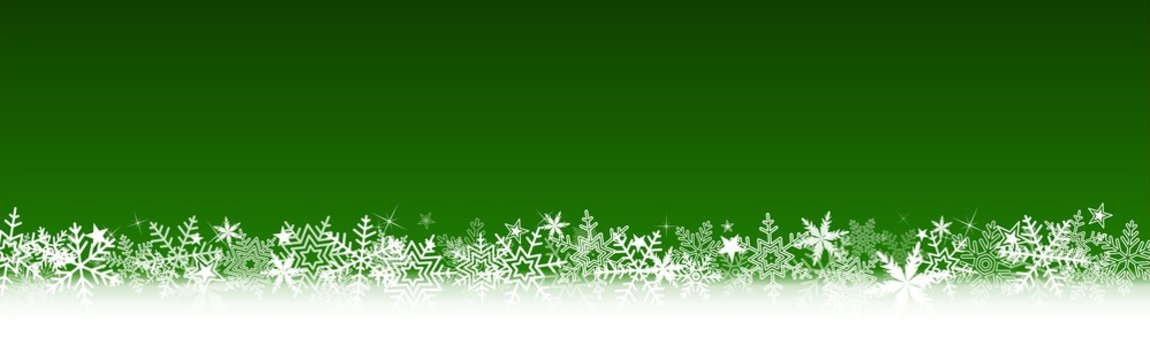Bannière verte Noël, flocons de neige, étoiles