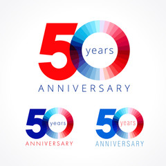 50 anniversary red and blue logo. The colorful template icon of 50th birthday.